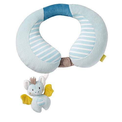 Fehn 065282 Nackenstütze Fledermaus - Nackenkissen mit kleinem Rasseltier für Babys und Kleinkinder ab 6+ Monaten - Maße: 24 x 20 cm