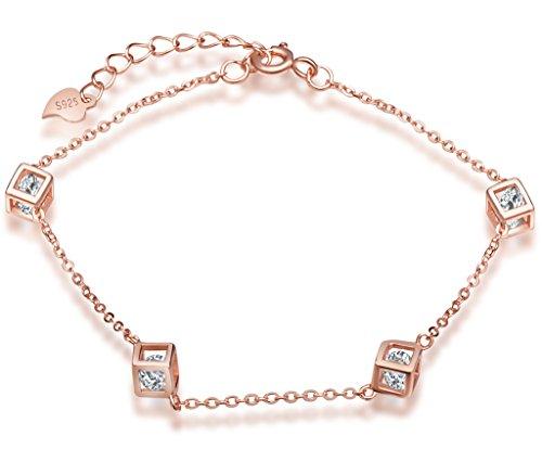 Infinite U Fashion 5cubo de Rubik para mujer pulsera 925plata de ley Circonita Ajustable Enlace Cadena, oro rosa
