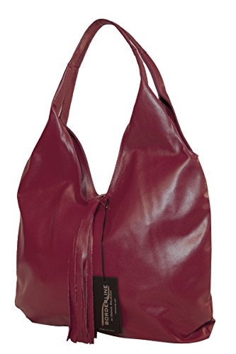 BORDERLINE - 100% Made in Italy - Borsa Sacca da Donna in Vera Pelle - SERENA Rosso