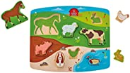 Hape HAP-E1454 Farm Animal Puzzle & Play, Multi-Colour, 5'