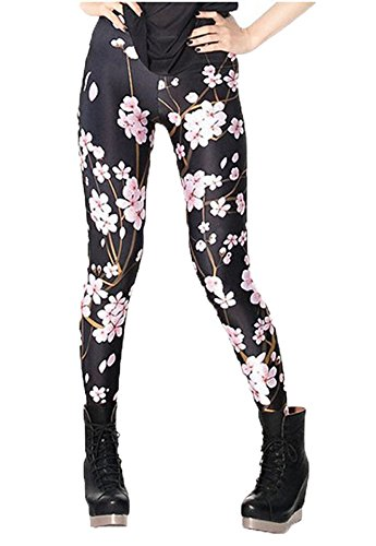 DODOING Blumen Muster Leggings Damen Lang Hose Gym Workout Leggins Legins Ladies Stretch Yoga Pants (Paisley-korsett)