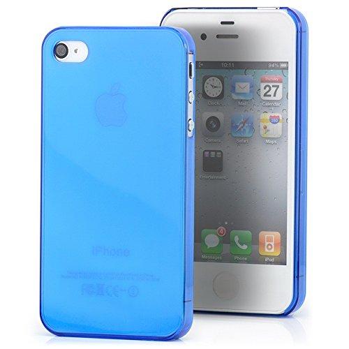Saxonia Apple iPhone 4 / 4S Hülle Case Slim TPU Schutzhülle Back Cover Ultra Slim Transparent Blau