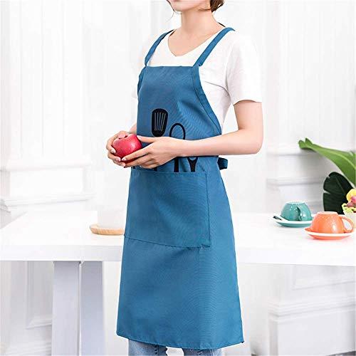 Kette Hals Halfter (YXDZ Nordic Style Küche Antifouling Mode Schürze Männer Und Frauen Koch Overall Hängen Hals Ärmellose Coffee Shop Erwachsenes Kleid Neues Blau)