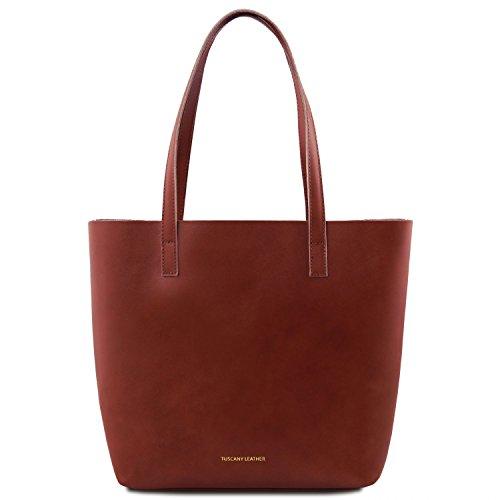 Tuscany Leather Ilaria Borsa in pelle sfoderata con tasca interna estraibile Nero Marrone