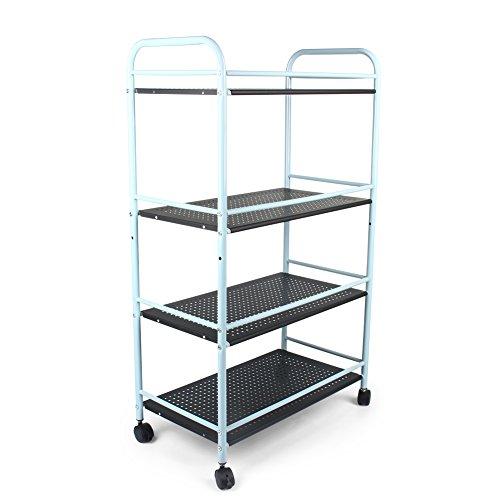 4-Tier Beauty Salon Trolley Cart, Bathroom Kitchen Storage Trolley Tea/Serving Trolley with Wheels, Steel (60cm(L) x 32cm(W) x 100cm(H), Black)