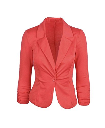 Islander Fashions Damen Langarm One Button Ausgestellte Peplum Blazer Damen Plain Fancy Ruffle R�Schen Jacke Coat Top Coral EU 40