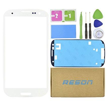 Reson Ersatz-LCD-Bildschirm-Reparatur-Set für Samsung Galaxy S3 I9300 I747 T999 I535, inklusive Werkzeugset, Trocken-/Nass-/Staubreinigungspapier und Klebeband, Weiß (I9300 Lcd-bildschirm-ersatz)