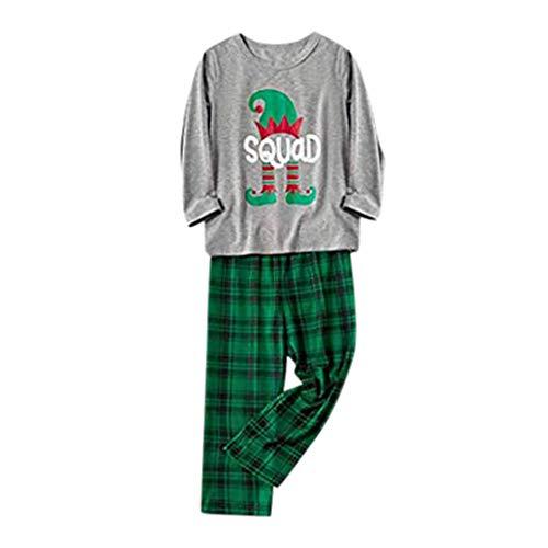 Home Service T-Shirts + Hosen Set Kind Weihnachtsmann Junge Mädchen Brief Plaid Gedruckt Freizeitanzug Weihnachten Familie Kleidung Pyjamas, Grün, 2-3 Jahre