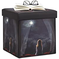 Relaxdays Sitzhocker mit Beleuchtung, Sitzwürfel mit Motiv, Nachthimmel mit LED Sternen, HBT: 38 x 38 x 38 cm, dunkel preisvergleich bei kinderzimmerdekopreise.eu