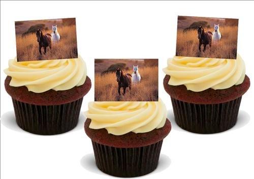 PFERDE IM LANGEN GRAS - 12 essbare hochwertige stehende Waffeln Kuchen Toppers - HORSES IN LONG GRASS -