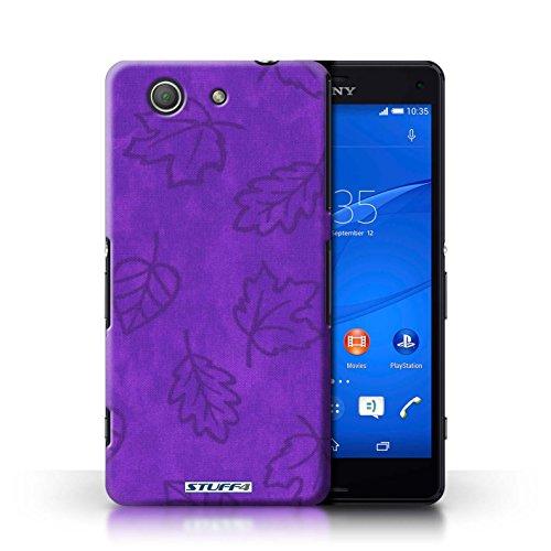 Kobalt® Imprimé Etui / Coque pour Sony Xperia Z3 Compact / Jaune conception / Série Motif Feuille/Effet Textile Pourpre
