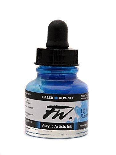 Daler Rowney FW Künstler Acryl Tinte 29.5ml Topf, verschiedene Farben Process Cyan -