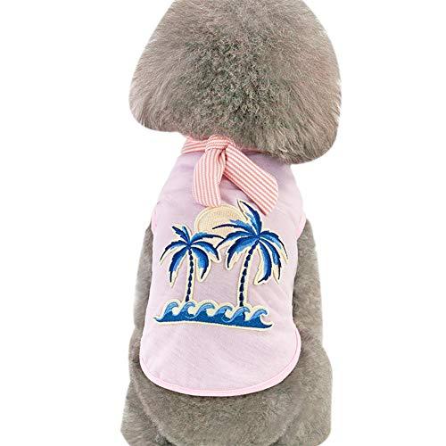 Dance Strand Kostüm - Tangpan Hundekostüm Hawaiian Strand Kokosnussbaum Druck Hemd Welpen Camping Kostüm, L, Rose