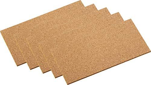 Metafranc Kork-Pads 100 x 200 mm - selbstklebend - 5 Stück - Stoßdämpfend & Vibrationshemmend - Als Pinnwand & Modellbau-Unterlage - Einfache Zuschnitte / Korkplatte zum Basteln / Klebekork / 646106 - Platte
