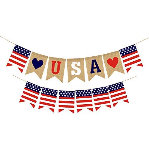 ne USA kennzeichnen rote weiße Blaue Stern-Fahne amerikanische Unabhängigkeitstag-Dekorations-Flaggen-Girlande ()