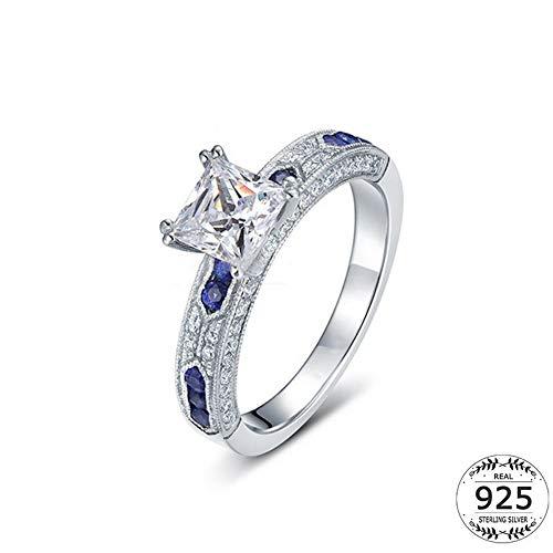 SSLL Ringe für Damenring Aus 925Er Silber Mit Quadratischem Einzelstein Und Blauem, Mikro-Dichtem Zirkonia-Ring, 9