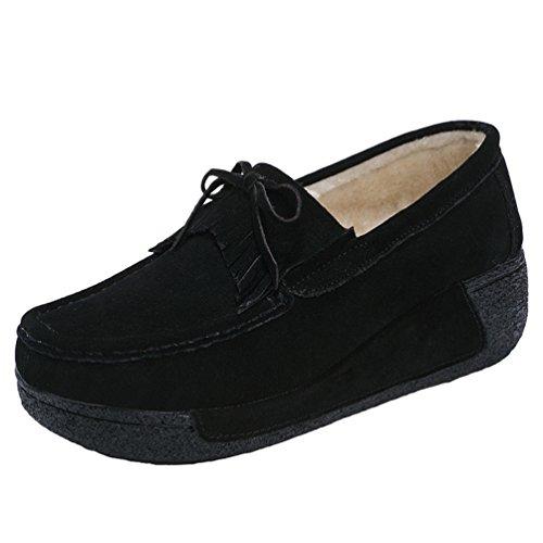 Yiiquan Femmes Baskets Compensé Mocassins Cuir PU Chaussures Bateau Loafers Plateforme Marche Fitness Chaussons Tennis Sport Sneakers Noir # 2