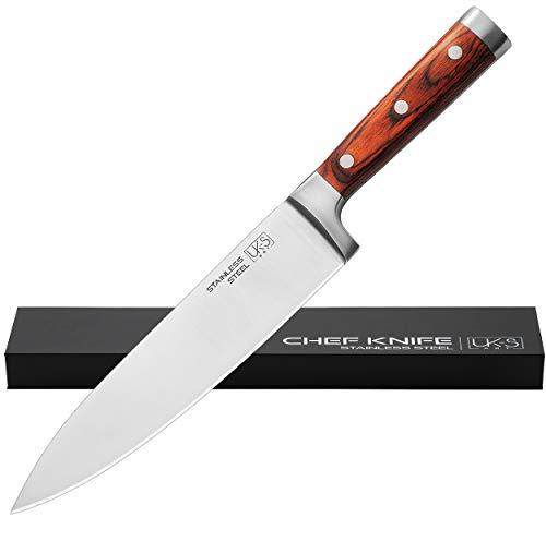 Kochmesser Profi 20 cm UK-S Art Premium Chef-Messer Ultrascharfe Klinge Küchenmesser Allzweckmesser Mit Pakka-Holzgriff In Eleganter Aufbewahrungs-Box / Geschenk-Box.
