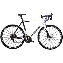 """POLOANDBIKE Savage Complete Bike Ultegra - Bicicleta de carretera de 22 velocidades, cuadro de carbono talla 53, horquilla de carbono y ruedas de 28"""", color blanco y negro"""