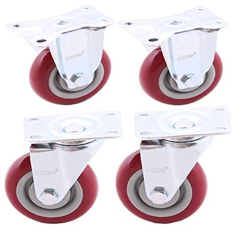 4 Satz Laufräder mit drehbarer Platte Stem Bremsrollen auf Rot, Industrie-Rollen, 5 Zoll / 125 mm Möbel Trolley Ersatzrollen, Gewicht 400 kg Lager - 400 Kg Gewicht