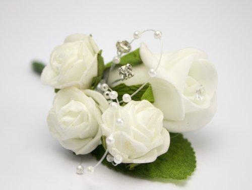 floristikvergleich.de Ansteckblume, Weiß, Diamant, Perlen und mit kleinen Röschen