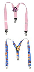 Sorella'z Combo of Royal Blue Cartoon & Pink Plain Cartoon Patches on Back Y -Back Suspender for Kids (random cartoons will be dispatched)