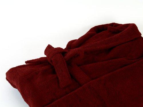 Éponge Peignoir avec col châle en 6couleurs et 5tailles pour homme et femme, Coton, Bordeaux, XXL Bordeaux