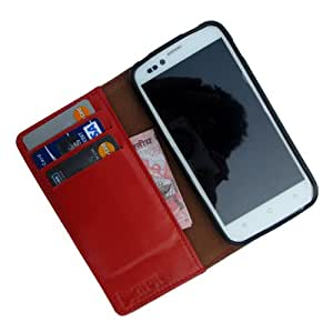i-KitPit - Genuine Leather Wallet Flip Case Cover For Karbonn A30 (ORANGE)