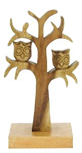 Handcarved Owl In Tree Ornament - Decorative Wooden Carving - Wonderful Christmas Gift - Beautifully Crafted Sculpture (Size 28 x 16 x 9.5cm) Top Christmas Gift Idea : High Quality Traditional Wooden Present For Children, Adults or Animal Lovers!