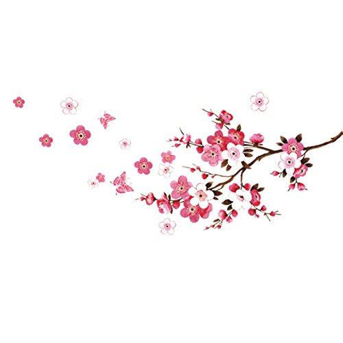 Naisicatar Große Schmetterlings-Kirschblüten-Blume Baum AST entfernbare Wand-Aufkleber-Abziehbilder Dekor-Kunst-Wandhauptdekor-Aufkleber kreatives Design (Kirschblüten-baum-wand-aufkleber)