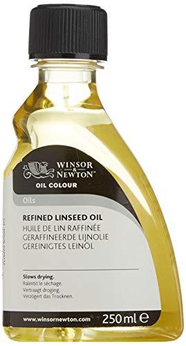 Winsor & Newton 3039748 Gereinigtes Leinöl, steigert den Glanz und die Transparenz von Ölfarben, 250ml Flasche