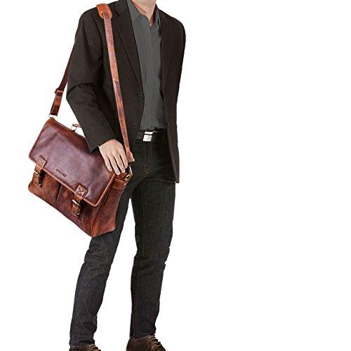 STILORD 'Georg' Borsa Tracolla per l'ufficio da Insegnante Professore Uomo Donna Classica Portadocumenti grande in pelle Borsa da lavoro Business in vero cuoio, Colore:kara - cognac