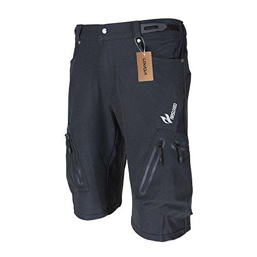 Lixada Pantaloncini MTB Uomo Pantaloncini Ciclismo Biciclette Bici MTB Pantaloni Shorts Traspirante Sciolto Nero+Pad