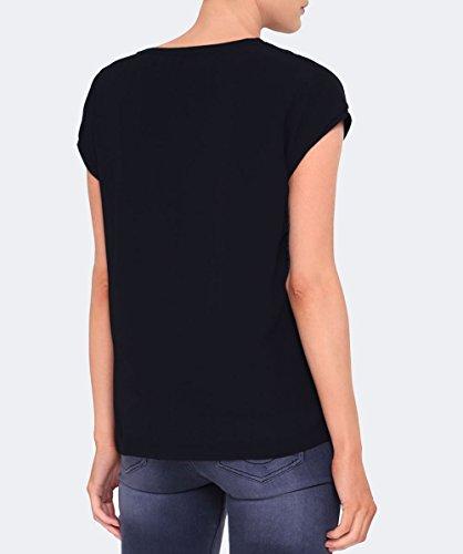 Armani Jeans Damen Overlay-Logo T-Shirt Schwarz Schwarz