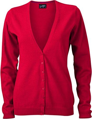 Baumwoll-strickjacke (James & Nicholson Damen V-Neck Cardigan Strickjacke, Rot (Red), 38 (Herstellergröße: L))