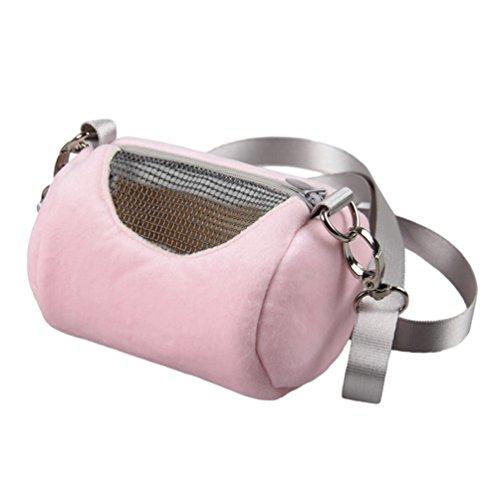 JEELINBORE Tragetaschen für Kleintiere Hamster Tasche Transportbox Ratte Frettchen Handtasche Tragbare Reisetasche (Rosa, 12 * 7cm)