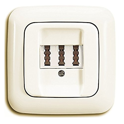 BUSCH JÄGER Telefonanschluss Komplettset / TAE Telefon Anschlussdose 3x6 NFN + 1fach Rahmen und Abdeckung, DURO 2000 cremeweiß