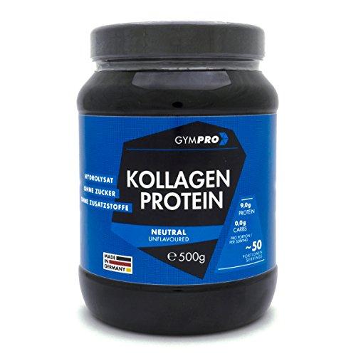 GymPro Collagen Protein Pulver 100{1fcf96a327165445b3a4e5048e567f196c412235793cd7ebbb81ae0d6c227f45} Kollagen Hydrolysat, laborgeprüft - 500g