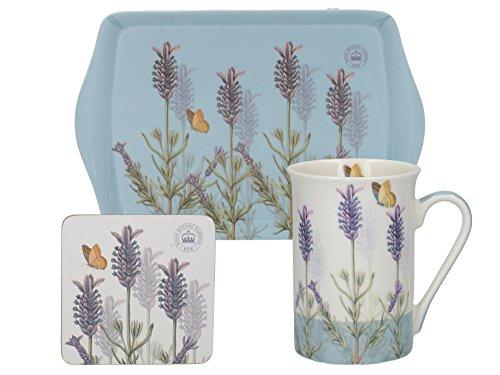 CREATIVE TOPS Tee-Geschenk-Set mit Tasse, Untersetzer und Tablett, Royal Botanic Garden Kew Flieder Time for Tea, bunt - Butterfly Garden Tray