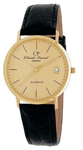 Claude Pascal Modellreihe 394287 Damen Quarz Armbanduhr 585 Gelbgold 14 Karat Ronda 715 (Modell G Gold farbiges Ziffernblatt mit Strich Indizies)