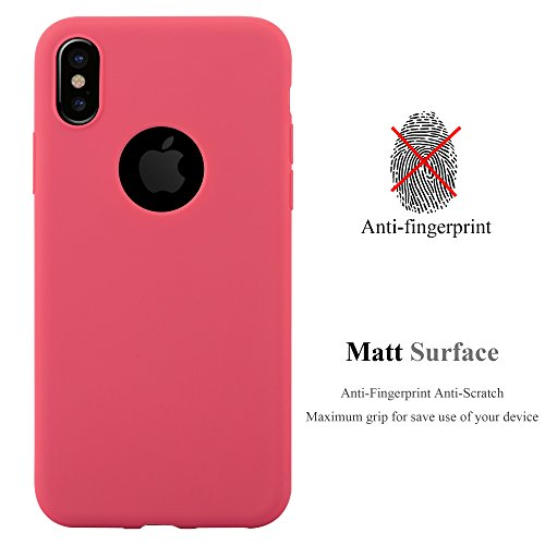 Cadorabo - TPU Ultra Slim Candy Silikon Hülle Case Cover Schutz-Hülle für >             Apple iPhone X             < in CANDY-SCHWARZ CANDY-ROT