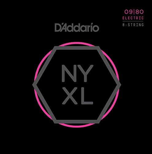 D'Addario NYXL0980 Nickel Wound 8-Saiter E-Gitarre Saitensatz, Super Light, 09-80