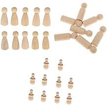 MagiDeal Set de 30 Piezas Juguete Montessori Personas Clavija Muñecos de Palo+Primeros Figuras de Muñecas de Torta+Macho Blanco Primeros de Torta de Boda