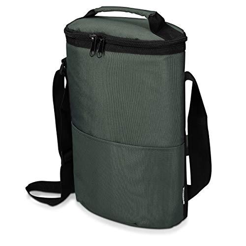 Mantén tus botellas de vino frías y llévalas a tu próximo picnic o camping. Con esta bolsa enfriadora podrás transportarlas con facilidad y sin correr riesgos gracias a su correa ajustable y su cremallera.TRANSPORTE CÓMODOPodrás cargar el bolso térmi...