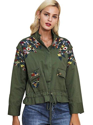 Simplee Apparel Women 's Loose bordado ropa de abrigo chaqueta corta parka verde militar