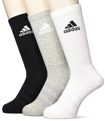 adidas Socken 3 Paar Cushion Crew, Grey Heather/Medium Grey Heather/Black, M, DZ9355 - Black Label Crew