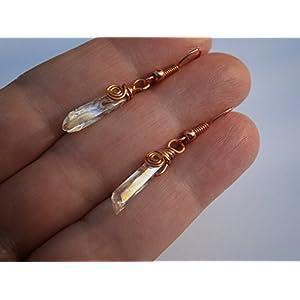 Ohrringe Kristallspitzen rosegold vergoldet boho chic handmade im Geschenk Etui Hochzeitstag Geburtstagsgeschenk