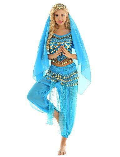 MSemis Damen Bauchtanz Kostüm Set Pailletten Tanzkleidung Indische Tanz Performance-Kleidung 4tlg. Sets Oberteil + Haremshose + Hüfttuch + Kopftuch See Blau Einheitsgröße