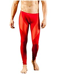 SODIAL(R) Mens Mesh Breathable Long johns Pants Thermal Pants Underwear Trousers, White M