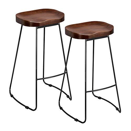 Estes taburetes viene con un deseño muy simple y elegante. Y es adecuado para usar en el bar, restautante,cafetería,cocina.Muy fácil de montar. La altura del taburete es de 75 cm.La capacidad de carga es 150 Kg.Especificaciones :Material: madera y me...